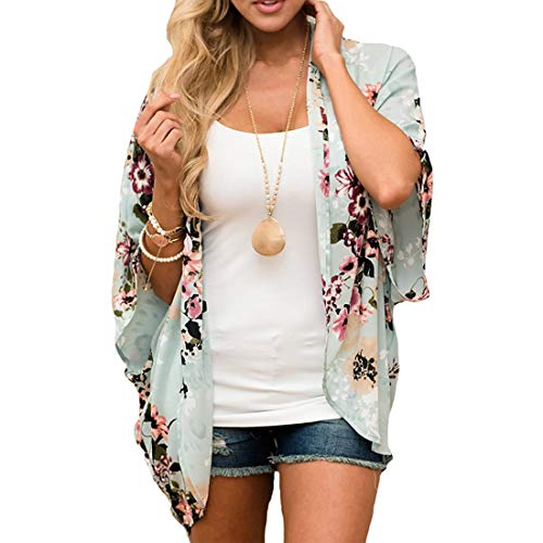 ECOMBOS Damen Florale Kimono Cardigan - Chiffon Tops Cardigan Bluse Shawl Sommer Beachwear Cover up Leichte Boho Strand Jacke (Grün, L)
