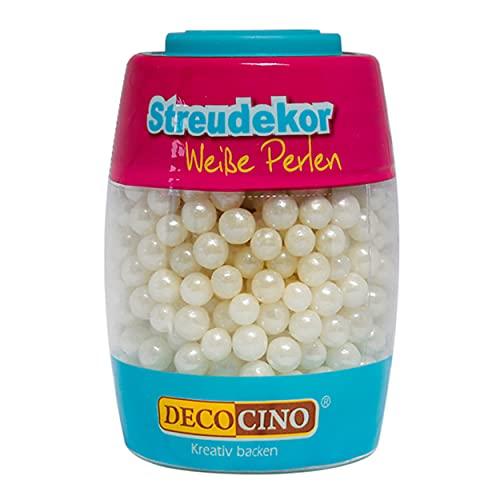 Decocino Essbare Perlen in Weiß (65g) – Streu-Dekor, Zucker-Streusel – matt-glänzende Zuckerperlen – perfekt zum Dekorieren von Torten, Kuchen und Cupcakes