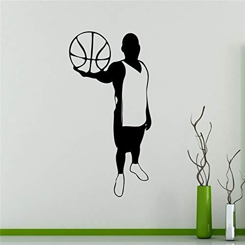 Pegatinas de pared para dormitorio, jugador, jugador de baloncesto, silueta, deporte, interior, niños, niños, vinilo, puerta, arte, regalo, refrigerador, impermeable, adhesivo decorativo, 90x45cm