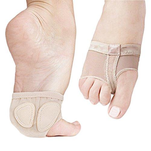 Las niñas adultas niño correas de pie transpirables de ballet de baile Toe Pad calcetines cojín de la pata delantera para aliviar los dolores de pie