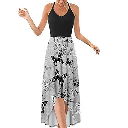 Vestido de verano para mujer con hombros descubiertos, elegante estampado casual sin mangas y suelto, para mujer