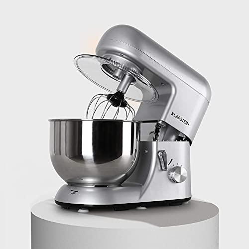 Klarstein Bella Argentea Küchenmaschine Rührgerät (1200 Watt, 5,2 Liter-Rührschüssel, 6-stufige Geschwindigkeit) silber