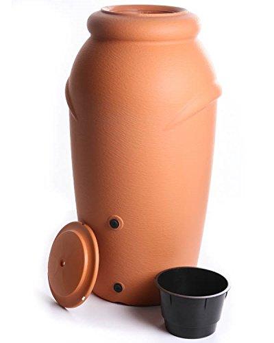 Regenwassertonne Regentonne Regenbehälter Regentank Amphore 210L 3 Farben Wasserhahn wählbar (Terracotta)