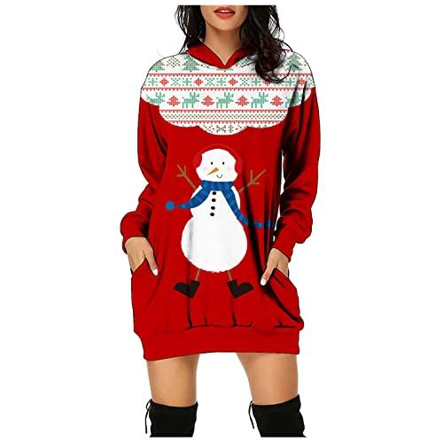 Briskorry Sudadera con capucha para mujer, para invierno, otoño, manga larga, algodón, estilo informal, para exterior, con bolsillos, Navidad, cuello redondo, largo hasta la rodilla.