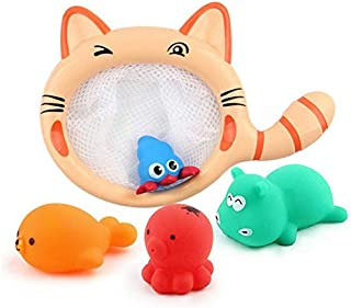 Bath Toy, Fishing Floating Squirts Toy and Water Scoop With Organizer Bag,Toys Fish Net Game in Bathtub Bathroom Pool Bath...