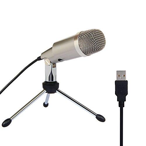 TONOR USB Micrófono Condensador Profesional para Computadora Plug and Play Champagne