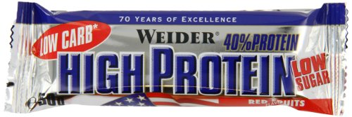Weider 40% high protein low carb bar, 25 barritas de 50g