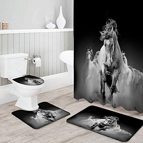 MQWEMJ Cortinas de Ducha, Caballo Animal Gris Blanco negro180×200 cm con alfombras Antideslizantes, Tapa de Inodoro y Alfombrilla de baño, Cortina de Ducha con 12 Ganchos, Tela Impermeable
