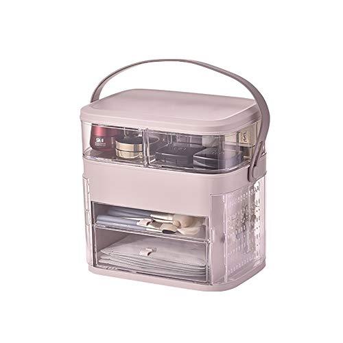 LSJZF Organizador de maquillaje, organizador cosmético transparente para accesorios cosméticos y joyas, a prueba de polvo e impermeable, con asa, color rosa