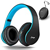 Wireless Over-Ear Headset with Deep Bass, Bluetooth and Wired Stereo Headphones Buit in Mic for Cell Phone, TV, PC,Soft Earmuffs &Light Weight for Prolonged Wearing by Zihnic (Black/Blue) (Renewed)