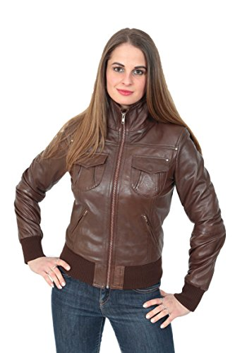 A1 FASHION GOODS Womens Latest Short Fitted Bomber Real Leather Zip Up Jacket Cameron Brown (18)