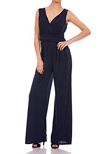 Laeticia Dreams Eleganter Damen Overall Jumpsuit V Ausschnitt S M L XL, Farbe:Marineblau, Größe:44 XXL