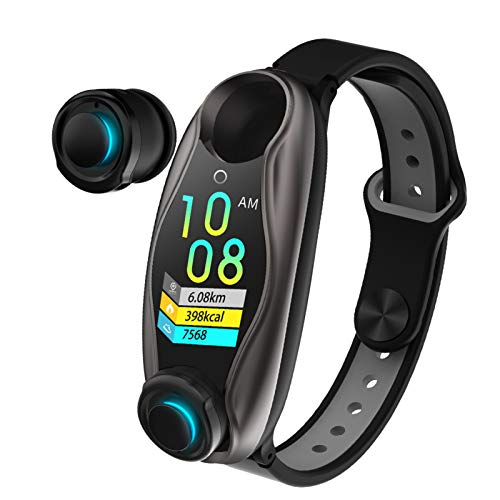 BNMY Rastreador De Actividad Física, Reloj Inteligente 2 En 1 con Auricular Bluetooth TWS, Pulsera Inteligente, Reloj Inteligente con Llamada BT, Frecuencia Cardíaca, Presión Arterial,Gris