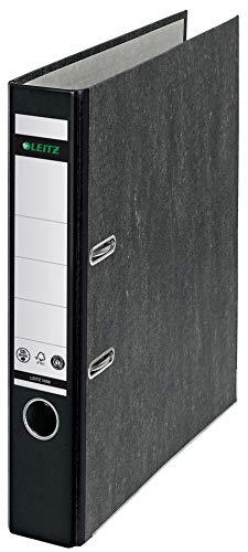 Leitz Qualitäts-Ordner 180°, A4, klimaneutral, 100 % recycelter Karton, Schmal, 5,2 cm Rückenbreite, Wolkenmarmor-Papier, Schwarzer Rücken, 10505095