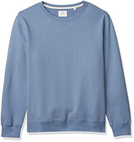 Billy Reid Men's Pullover Dover Crew Sweatshirt Elbow Patches, Sky Blue/Brown Leather, XXL