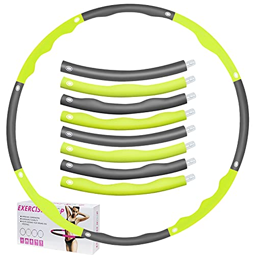 Enfourclass Hula Hoop - Pneumatico da 1 kg, per fitness Hula Hoop Hoop Hoop per massaggi e riduzione del peso, 6-8 sezioni, design rimovibile (94 cm) (grigio e grigio)