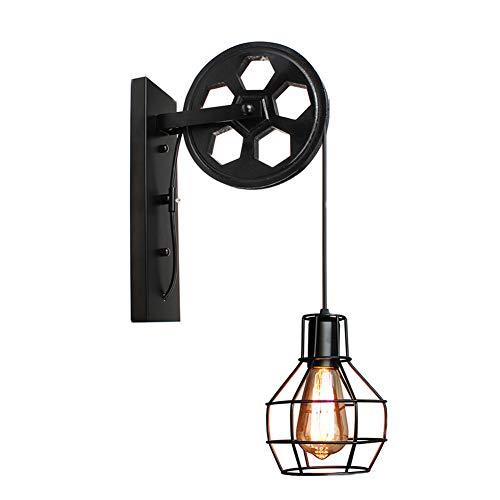 vap26 Weinlese-Eisen-an der Wand befestigte anhebende Flaschenzug-Licht-Lampe Retro- industrielle Korridor-Leuchter Steampunk-Wandleuchte