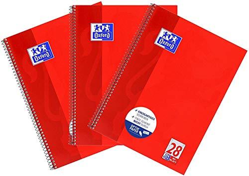 Oxford Oxford - Cuaderno (A4, cuadriculado, 80 hojas, 3 unidades), color rojo