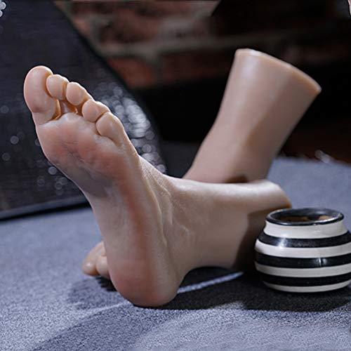 1 Paar Silikon Lebensgroße Männliche Schaufensterpuppe Fuß - Zehen Eingebaute Knochen Sichtbare Blutgefäße Für Die Anzeige Juwelen Schuh Socken Kunst Skizze,Wheat Color