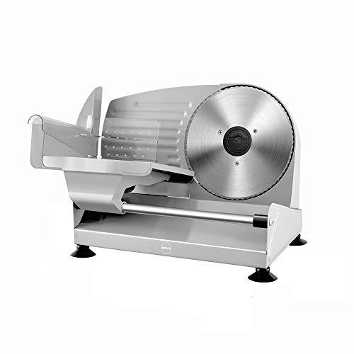 eldom Cortafiambres Eléctrico KR400, Maquina de Cortar Fiambre, Maquina cortadora de Pan,150W, Incluye 2 Cuchillas de Acero Inoxidable, Sistema Protector de Manos,