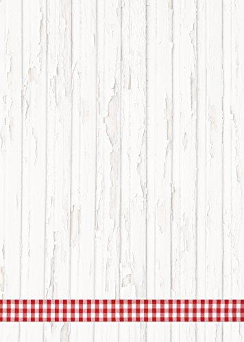 50 Blatt Briefpapier Druckerpapier rot weiß KARIERT BAND RAHMEN Holz-Optik rustikal 100g Schreibpapier Motiv-Papier DIN A4 Brief-Bogen bayerisch Bayern Landhaus-Stil