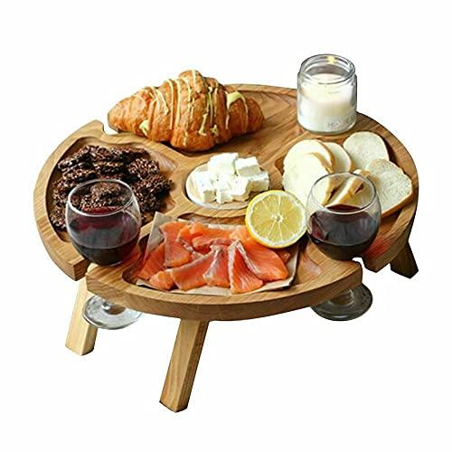 LOULE Mesa de picnic de madera al aire libre, mesa plegable, diseño portátil, conveniente de usar, copa de vino 2 en 1, adecuado para camping, picnic, fiesta al aire libre