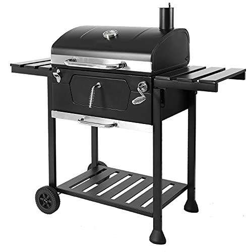 Brigros - Barbecue a Carbone con Ruote, Barbecue Compatto, BBQ a Carbone, Barbecue con Ruote e Carrello, BBQ Compatto, Barbecue BBQ Rettangolare