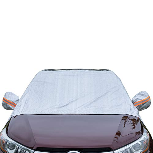 Universal Fit Windshield Sun Shade for Cars, Compact and Mid-Size SUVs, Anti-Theft Tuck-in Flaps, Cotton Lined PEVA Fabric with Aluminum Foil Lamination, Mirror Covers Included, Patent Pending