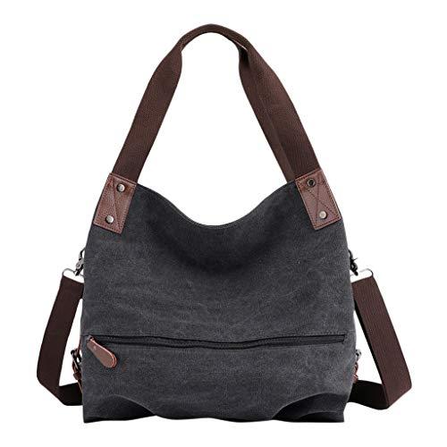 DAKERTA Groß Damen Vintage Umhängetasche Mädchen Canvas Schultertasche Baumwolle Shopper Handtasche für Uni Schule College Outdoor