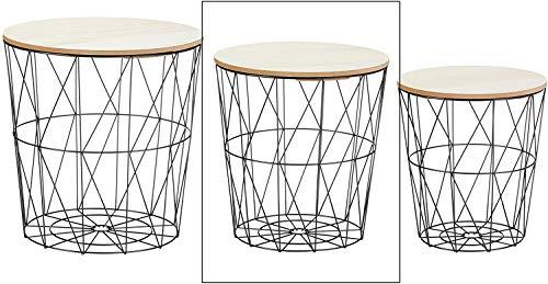 Meinposten Beistelltisch Sofatisch Tisch mit Stauraum Couchtisch Korb Metall Holz Nachttisch schwarz B-Ware (Mittlerer Tisch: Ø 34 cm x Höhe 36 cm)