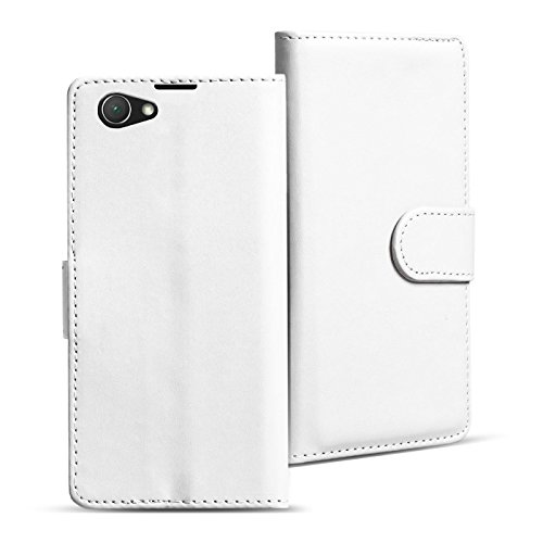 Verco Custodia per Sony Xperia Z1 Compact, Case per Xperia Z1 Compact Cover PU Pelle Portafoglio Protettiva, Bianco