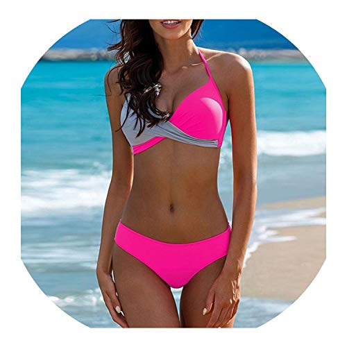 Push Up Bikinis Halter Top Bikini Set 2019 New Sexy Swimsuit Women Chest Cross Swimwear Beach Wear Biquini