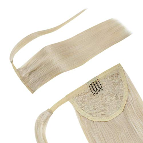 LaaVoo-Clip Pferdeschwanz-Brasilianisches Haar,Tragen Sie Bei Der Datierung,Anwendbar Für Menschen Mit Weniger Haaren,#60 Platin Blond (18 Zoll 80Gramm)