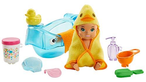 Barbie - Skipper Canguro, Hora del Baño, Muñecas con Bebe y Accesorios (Mattel GHV84)