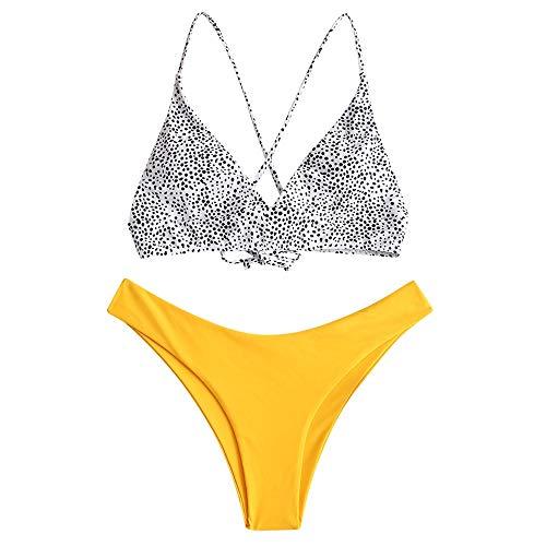 ZAFUL zweiteilig Bikini-Set mit,Sexy Spaghettiträger Gepolsterter Badeanzug mit High Cut Bikini mit Leopardenmuster (Gelb-M)