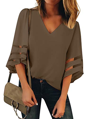LookbookStore Women Vneck Mesh Panel Brown Work T Shirts for Women V Neck Casual V Neck 3/4 Bell Sleeve Blouse Loose Business Office Blouse and Tops Size Large