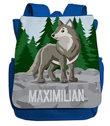 Kleiner Rucksack für Kindergarten mit Namen   Motiv Wolf & Wald   viele Fächer Brustgurt Kinderrucksack inkl. Wunschname   ideal für Kita- und Kindergartenkinder von 2-5 Jahre (Royalblau)