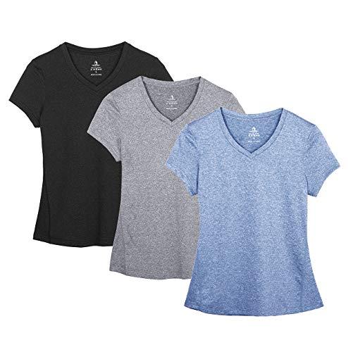 icyzone Damen Sport Fitness T-Shirt Kurzarm V-Ausschnitt Laufshirt Shortsleeve Yoga Top 3er Pack (XXL, Black/Granite/Blue/)