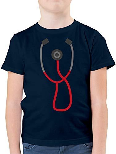 Karneval & Fasching Kinder - Arzt Stethoskop Kostüm - 140 (9/11 Jahre) - Dunkelblau - Rettungsdienst - F130K - Kinder Tshirts und T-Shirt für Jungen