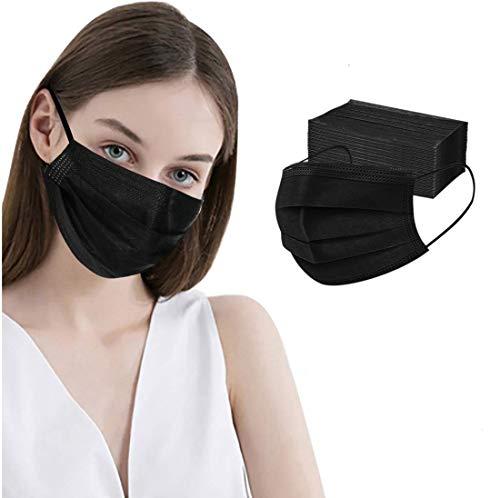 100 Pcs Disposable Face Masks, 3 Ply Face Masks Black Disposable Mask