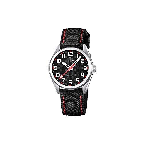 FESTINA Reloj Modelo F16904/C de la colección Junior Collection, Caja de 31 mm Correa de Cuero Negro Rojo para niño