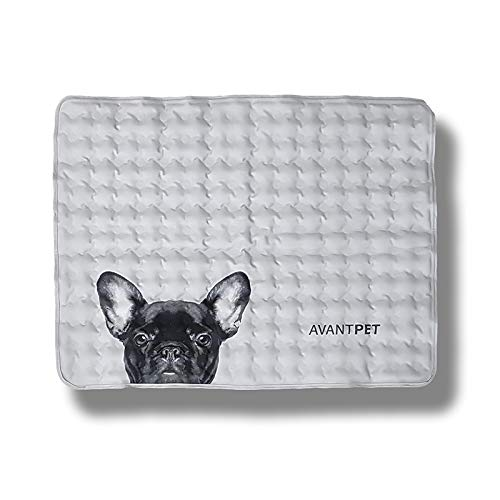 Avantpet Reversible Comfortable Pet Cooling Pads for Cats and Dogs, Cooling Gel pad, Pressure Activated Self Cooling Dog Sleeping Bed, Keep a Pet Cool on Hot Weather, M, French Bulldog