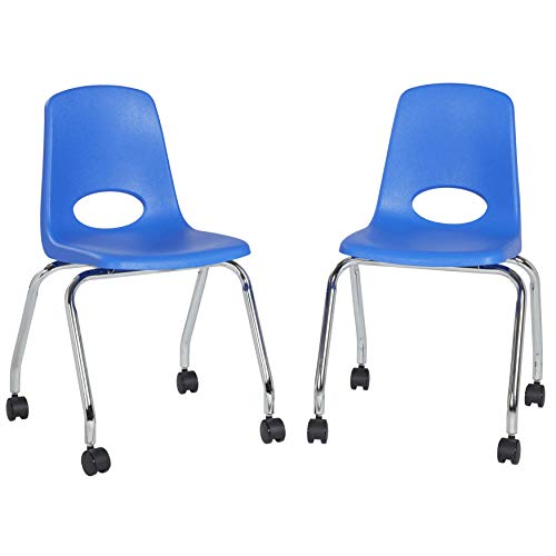 FDP 18' Mobile School Chair with Wheels for Kids, Teens and Adults; Ergonomic Seat for in-Home Learning, Classroom or Office - Blue (2-Pack)