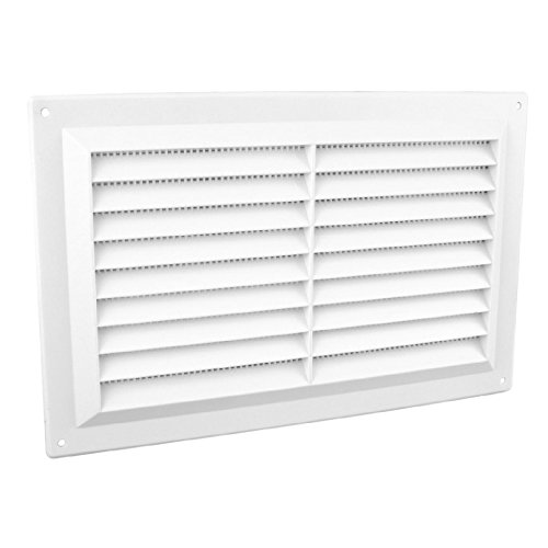 9' x 6' White Plastic Louvre Air Vent Grille With Flyscreen Cover