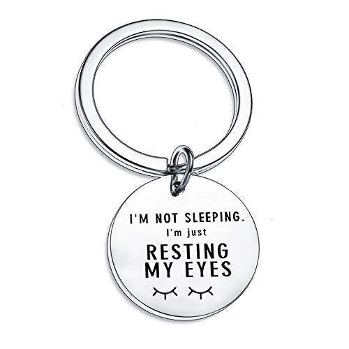 Funny Keyring Funny Gifts for Women Men Keychain Family Gifts Best Friend Key Ring Birthday Christmas Gifts (I'm Not Sleeping)