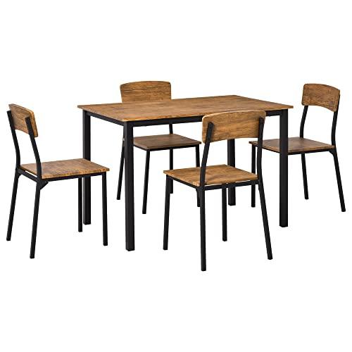 HOMCOM - Juego de mesa de comedor y sillas de 5 piezas