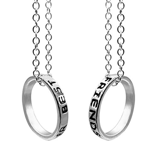 EQLEF Lega d'Argento Semplice Anello Best Friends Forever Amicizia Collana Regalo -Girlfriend Collana / 2 PCS