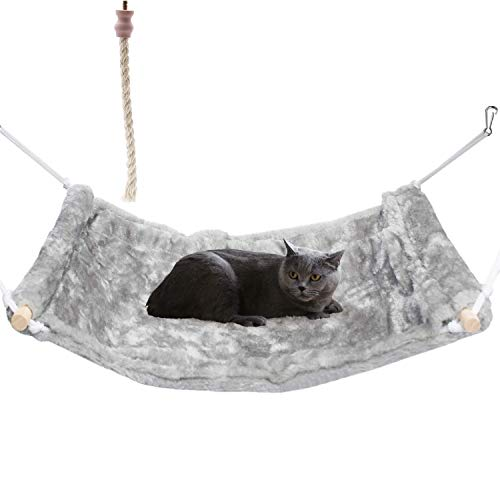 None brand SYANDLVY Cat Hammock for Cat Cage Chair, Hanging Pet Cage Hammock, Ferret Hammock and Bed, Sisal Rope Cat Toys,Soft and Durable Pet Bed for Rat Puppy or Small Animal(Light Gray)