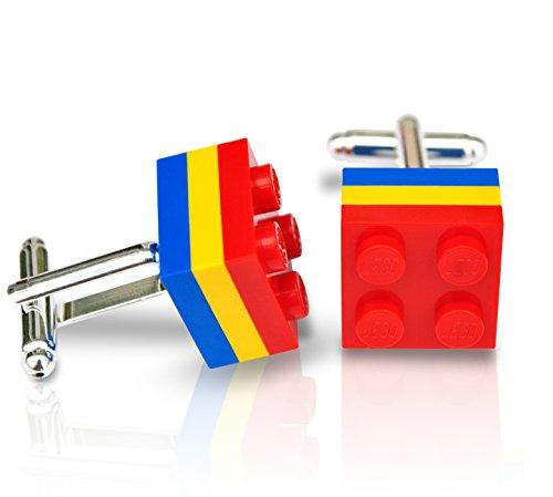 LEGO® Teller Manschettenknöpfe (rot, gelb und blau) Hochzeit, Groom, Herren Geschenk