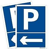 2 señales de área de aparcamiento del cliente, color azul, de aluminio, 250 x 350 mm